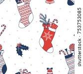 hand drawn seamless vector... | Shutterstock .eps vector #753753085