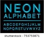 blue neon alphabet with... | Shutterstock .eps vector #753753871