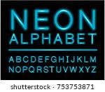 blue neon alphabet with... | Shutterstock .eps vector #753753871