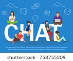 chat illustration of young... | Shutterstock .eps vector #753755209