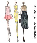 fashion model  women  posing ... | Shutterstock .eps vector #753755251