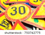 bunch of road signs stacked... | Shutterstock . vector #753762775