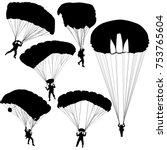 Set skydiver, silhouettes parachuting vector illustration.