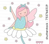 cute pretty fairy sitting on a... | Shutterstock .eps vector #753766519