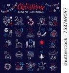 christmas advent calendar....   Shutterstock .eps vector #753769597