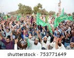 Small photo of KARACHI, PAKISTAN -NOV 12: Members of Tehreek-e-Labbaik Ya-Rasool Allah are holding protest rally against amending affidavit of Khatam-e-Nabuwat, at M.A Jinnah road on November 12, 2017 in Karachi