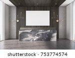 dark wooden office interior... | Shutterstock . vector #753774574