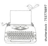 typewriter creme and blue with... | Shutterstock .eps vector #753778897