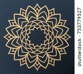 laser cutting mandala. golden... | Shutterstock .eps vector #753779527