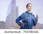 double exposure of running... | Shutterstock . vector #753780181