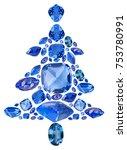 fir tree from blue sapphire... | Shutterstock . vector #753780991