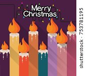 color christmas candles with... | Shutterstock .eps vector #753781195