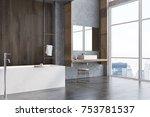 gray and dark wooden bathroom... | Shutterstock . vector #753781537