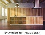 modern kitchen interior with... | Shutterstock . vector #753781564