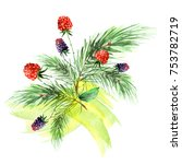 watercolor drawing. spruce... | Shutterstock . vector #753782719