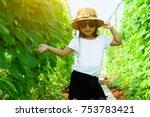 asian child girl wearing white...   Shutterstock . vector #753783421