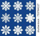 set white winter snowflake... | Shutterstock .eps vector #753784117