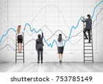 rear view of members of a...   Shutterstock . vector #753785149