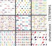 hand drawn seamless pattern... | Shutterstock . vector #753789841