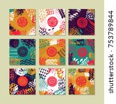 set of creative card template... | Shutterstock . vector #753789844