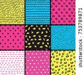 hand drawn seamless pattern... | Shutterstock . vector #753789871