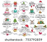 vector merry christmas... | Shutterstock .eps vector #753792859