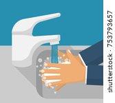 Wash Hands In Sink. Man Holdin...