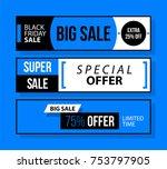three horizontal black friday... | Shutterstock .eps vector #753797905