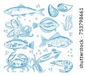 set. seafood crab  lobster ... | Shutterstock . vector #753798661