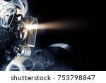 cinema background with movie... | Shutterstock . vector #753798847