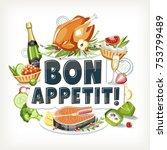 bon appetit label header... | Shutterstock .eps vector #753799489
