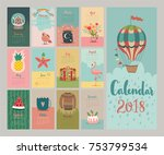 calendar 2018. cute monthly... | Shutterstock .eps vector #753799534
