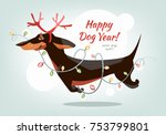 funny and cheerful dachshund... | Shutterstock .eps vector #753799801