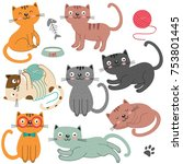 set of of isolated cats... | Shutterstock .eps vector #753801445