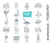 restaurant thin line icons ... | Shutterstock .eps vector #753801907