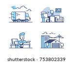 moving and storage in warehouse.... | Shutterstock .eps vector #753802339