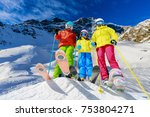 happy family enjoying winter... | Shutterstock . vector #753804271