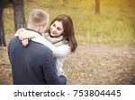 happy young couple hugging in... | Shutterstock . vector #753804445