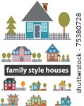family houses  buildings icons  ... | Shutterstock .eps vector #75380728