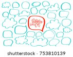 set of handdrawn doodle bubbles ... | Shutterstock .eps vector #753810139