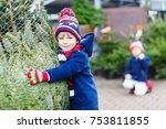 two little sibling kid boys... | Shutterstock . vector #753811855