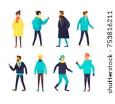 stylish young guys in winter... | Shutterstock .eps vector #753816211