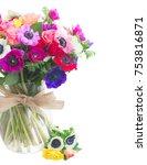 fresh bunch of anemones and... | Shutterstock . vector #753816871