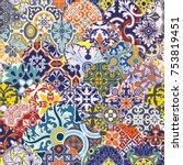 azulejos tiles patchwork vector ... | Shutterstock .eps vector #753819451
