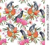 watercolor illustration pattern ... | Shutterstock . vector #753820189