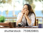 candid woman dreaming during a... | Shutterstock . vector #753820801