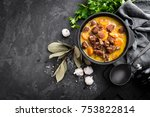 meat stew  goulash in a cast... | Shutterstock . vector #753822814