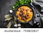meat stew  goulash in a cast... | Shutterstock . vector #753822817