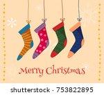 christmas colorful socks.  flat ...   Shutterstock .eps vector #753822895