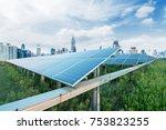 urban background solar panels ... | Shutterstock . vector #753823255